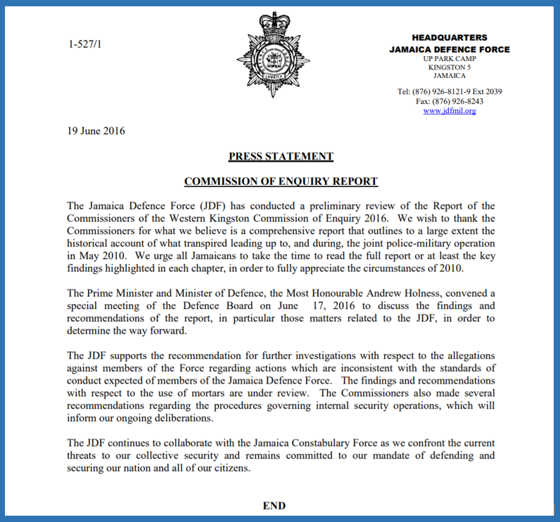 JDF press release re WKGNCOE