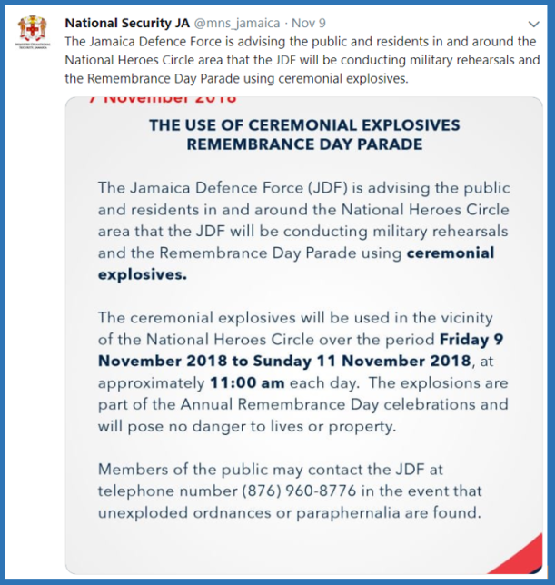 MNS tweet re JDF Remembrance Day rehersal - 9-11-18